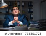 man celebrating birthday in the ... | Shutterstock . vector #736361725