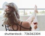 Woman Enjoying Her Red Wine On...