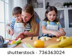 cute kids with mother preparing ...   Shutterstock . vector #736363024