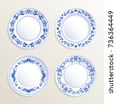 vintage plates painted at gzhel ... | Shutterstock .eps vector #736364449