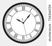 black wall clock roman numeral  ... | Shutterstock .eps vector #736366534