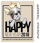 cute dog illustration with... | Shutterstock .eps vector #736366699