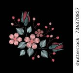 embroidery ethnic flowers neck... | Shutterstock .eps vector #736370827