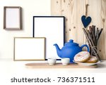 white and wooden background for ... | Shutterstock . vector #736371511