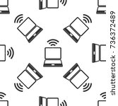 laptop and wireless icon.... | Shutterstock .eps vector #736372489