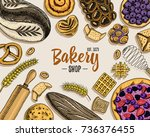 bread and pastry donut long... | Shutterstock .eps vector #736376455