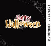 happy halloween text banner ... | Shutterstock .eps vector #736376575