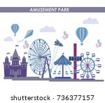 amusement park concept with... | Shutterstock .eps vector #736377157