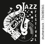 poster for the jazz festival.... | Shutterstock .eps vector #736380361