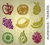 vector set of fruit icons | Shutterstock .eps vector #73638256