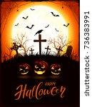 halloween background with... | Shutterstock . vector #736383991