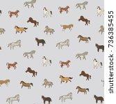 breeds of horse animals doodle... | Shutterstock . vector #736385455
