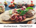 beautifully decorated catering... | Shutterstock . vector #736387219