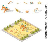 children playground isometric... | Shutterstock .eps vector #736387684