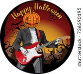 vector halloween scary pumpkin... | Shutterstock .eps vector #736390195