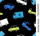 seamless pattern with cars. | Shutterstock .eps vector #736390495