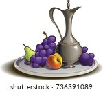tray with fruit and jug | Shutterstock .eps vector #736391089