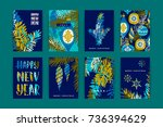 set of artistic creative merry... | Shutterstock .eps vector #736394629