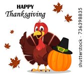 thanksgiving greeting card with ...   Shutterstock .eps vector #736398835