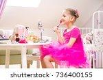 little girl fashion monger... | Shutterstock . vector #736400155