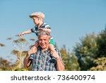 grandfather carries grandson...   Shutterstock . vector #736400974