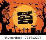 happy halloween party.... | Shutterstock .eps vector #736413277
