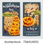 two flyers with different... | Shutterstock .eps vector #736414051