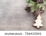 christmas day decorations on a... | Shutterstock . vector #736415341