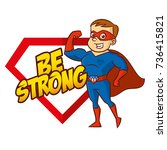 be strong superhero cartoon...   Shutterstock .eps vector #736415821