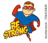 be strong superhero cartoon...   Shutterstock .eps vector #736415839