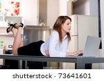 woman in the kitchen on the... | Shutterstock . vector #73641601