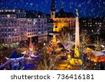 christmas fair in luxembourg.... | Shutterstock . vector #736416181