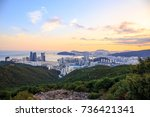 sunset at marine city with... | Shutterstock . vector #736421341