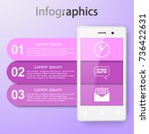 infographics with a smartphone. ... | Shutterstock .eps vector #736422631