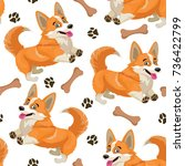 dog pattern. vector seamless... | Shutterstock .eps vector #736422799