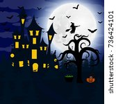 forest at night on halloween   Shutterstock .eps vector #736424101