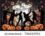 party   halloween . abstract... | Shutterstock .eps vector #736424551