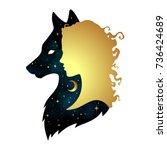 silhouette of beautiful woman... | Shutterstock .eps vector #736424689