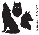 set of wolf silhouettes... | Shutterstock .eps vector #736424701