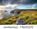 enys dodnan sea stack at land's ... | Shutterstock . vector #736425295