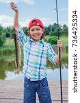 happy cute boy enjoyed the...   Shutterstock . vector #736425334