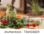 cherry tomato and lettuce with... | Shutterstock . vector #736426825