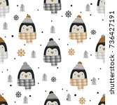 monochrome seamless pattern... | Shutterstock .eps vector #736427191