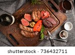 the mix meat grilled on the... | Shutterstock . vector #736432711