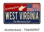 greetings from west virginia... | Shutterstock .eps vector #736440907