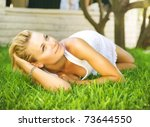 beautiful healthy young woman... | Shutterstock . vector #73644550