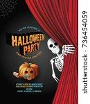 halloween party invitation...   Shutterstock .eps vector #736454059