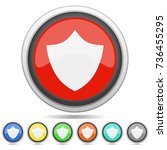 shield security icon metal... | Shutterstock .eps vector #736455295