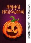 happy halloween  funny pumpkin  ... | Shutterstock .eps vector #736459864