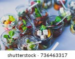 beautifully decorated catering...   Shutterstock . vector #736463317